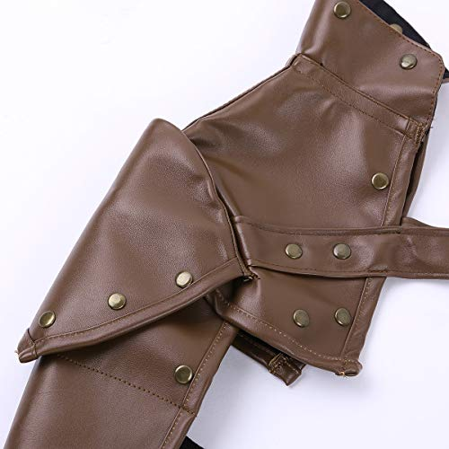 YiZYiF Gothic Steampunk Shoulder Armor Arm Strap PU Adjustable Metal Rivets Shoulder Arm Bracers Body Chest Harness Cosplay Costume Accessory Brown One Size steampunk buy now online