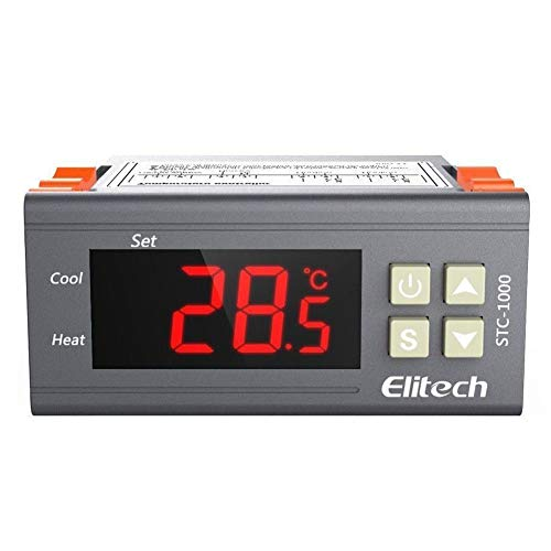 Elitech STC-1000 Mini Digital Controlador de Temperatura Termostato: Doble Reles 220v Termostato con 2m NTC Sonda, para Nevera Refrigeración y Caldera Calefacción, Temperatura Calibración Automática✩Garantía de 12 meses✩