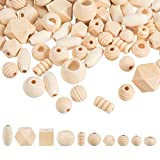 PandaHall 250g Assorted Natural Wooden Bead, Round/Cube/Polygon/Rondelle/Oval/Column Spacer Beads Unfinished Wood Loose Beads for Bracelet Necklace Jewelry Making