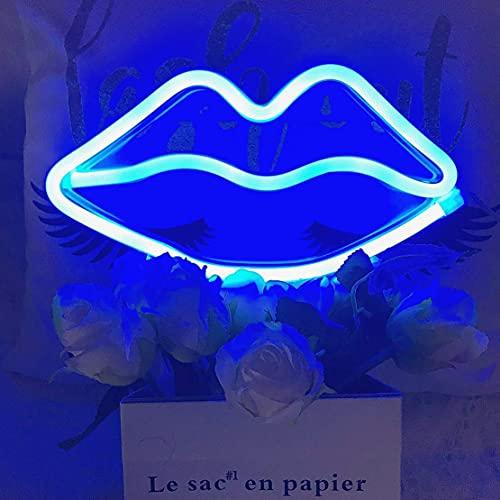 X-go Letreros de neón luz LED labios azules USB/funciona con pilas para pared dormitorio fiesta de cumpleaños Navidad Halloween día de San Valentín sala de juegos decoración de boda