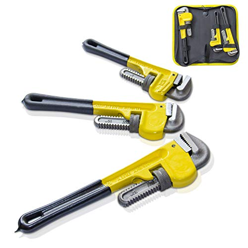 KOTTO Heavy Duty Adjustable Pipe Wrench Set, Wrench Tool Set / Tool Box, Hand tools for Plumbing, 3 Pack Set, 8, 10, 12 Inches Wrench Set with Storage Bag