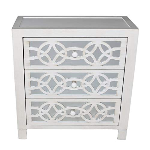 River of Goods Drawer Chest: Glam Slam 3-Drawer Mirrored Wood Cabinet Furniture - White