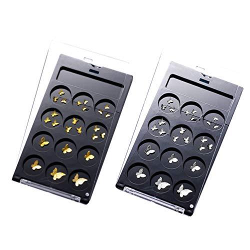 Pixnor 3D Mini Nail Art Papillon Charmes Glitter Papillon Forme Décoration Or Argent Nail Ongles De Charme Autocollants DIY Nail Art Accessoires 2 Boîtes