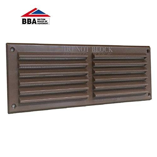 9' x 3' Brown Plastic Louvre Air Vent Grille with Removable Flyscreen Cover