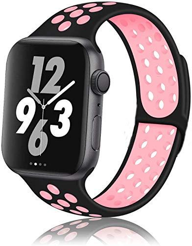 Correa Compatible con Apple Watch Correa 38mm 40mm, 42mm 44mm, Reemplazo de Silicona Suave Correa Deportiva Agujeros Respirables Compatible para Series 5 4 3 2 1. (38 mm / 40 mm, Negro/Rosa)