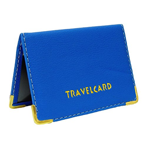 Fusion – Tarjetero de piel para billetes de transporte y tarjetas azul