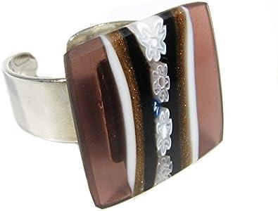 Anillo cuadrado de cristal de Murano con montura de plata 925