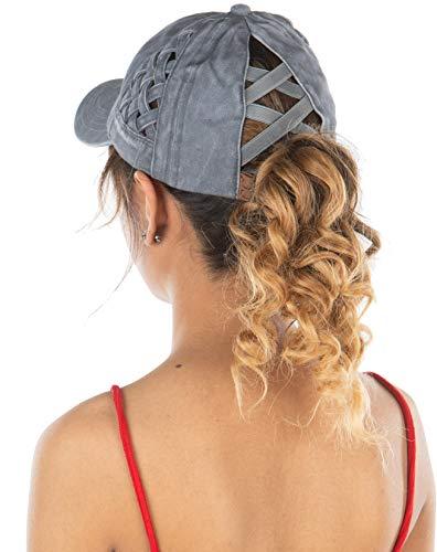 Criss Cross Hat Womens Baseball Cap Distressed Ponytail - Grey Basket Weave