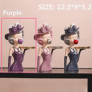 Home Decor Statue Figurines for Living Room, Modern Decorative Cute Human Statues, Collectible Sculptures with Storage Tray f
