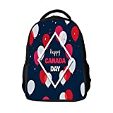SARA NELL Kids School Backpack July Happy Canada Day Bookbag For Boys Girls