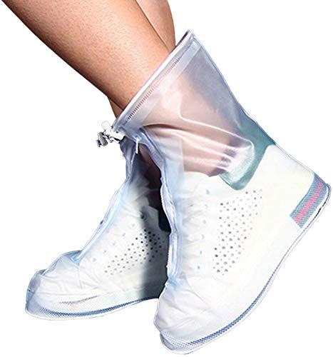 3 Pair Zipper Rain Shoes Reusable Boots Covers, Waterproof Slip Resistant Shoe Booties with Elastic Strip for Men Women Kids. (Coffee Color,M)