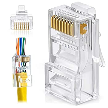 GTZ RJ45 Cat5e Pass Through Connectors - Pack of 100 | EZ to Crimp Modular Plug for Solid or Stranded UTP Network Cable