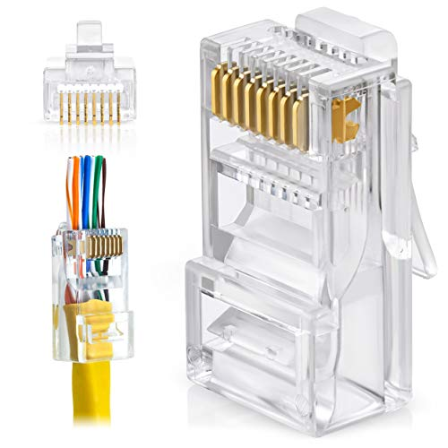 GTZ RJ45 Cat5e Pass Through Connectors - Pack of 50   EZ to Crimp Modular Plug for Solid or Stranded UTP Network Cable