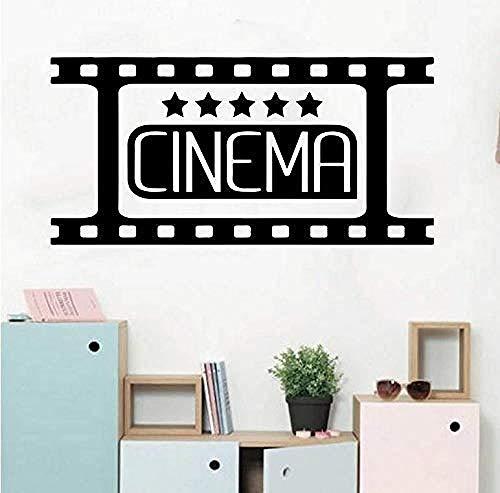Película de cine en casa Tatuajes de pared Habitación para niños Dormitorio Cine Cine Teatro Inicio Bienvenido Etiqueta de la pared Sala de estar Vinilo Arte 56X27Cm