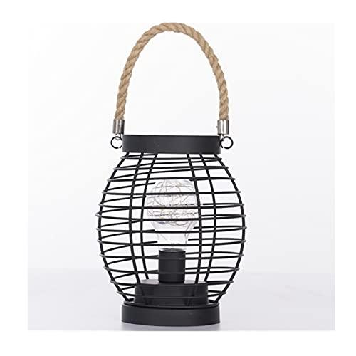 lámpara de noche Lámpara de noche con cuerda de cáñamo creativa. DIRIGIÓ Lámpara de mesa de la batería portátil de la luz de la noche de la linterna de hierro para adentro al aire libre Luz de escrito