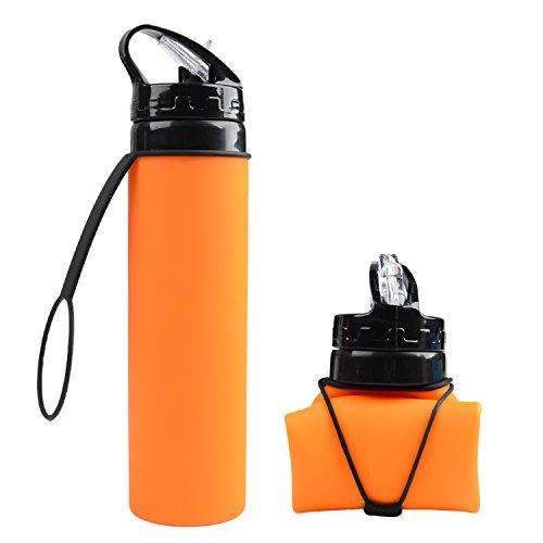 Borraccia morbida in silicone, facile da trasportare. Borraccia Pieghevole,600ml Bottiglia d'acqua Morbida, Bottiglia antiurto,adatta per Escursionismo,Campeggio,Corsa,Trekking,Outdoor. (Arancione)