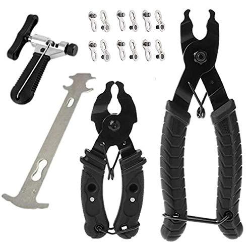 Bike Chain Tool, Kettenwerkzeug Kettennieter, 10-teilig, inkl. 2 Größen, Zange, 1 Kettenbrecher, 1 Kettenverschleißanzeige, 6 Paar fehlende Verbindungsstücke für alle Fahrradketten
