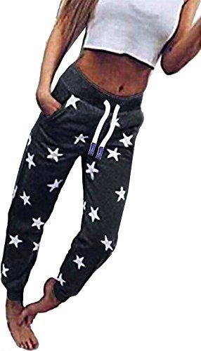 ZAHIDA Damen Hose Jogginghose Trainingshose Schlafanzug Joggen Sweatpants Stern 001 (Schwarz-Weiß, (48) 4XL)