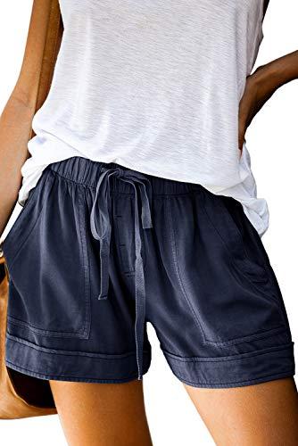 Shorts Damen Sommer Kurze Hosen Tunnelzug Elastische Stoffhose Solide Baumwolle Leinen Strand Shorts mit Taschen (385-Blau, Small)