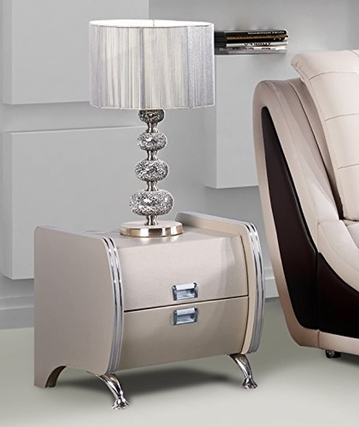 US Pride Furniture B8049-NS Faux Leather Contemporary Nightstand, Grey Pearl White