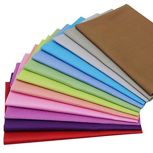 Jukway 12 paquetes de tela de algodón de color liso, 45 x 50 cm, tela de sarga de algodón puro, tela de patchwork, tela de costura para manualidades, decoración de arte y trabajo a mano (multi