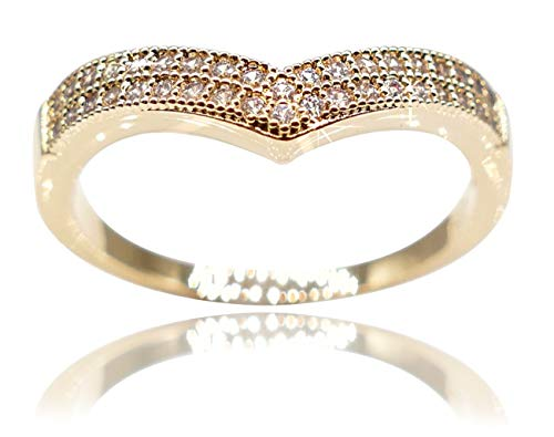Ah! Jewellery Ladies Gold Filled Pave Set Wishbone Ring. UK Guarantee: 3µ, Stamped GL. Set To Perfection With Sparkling Simulated Diamonds.