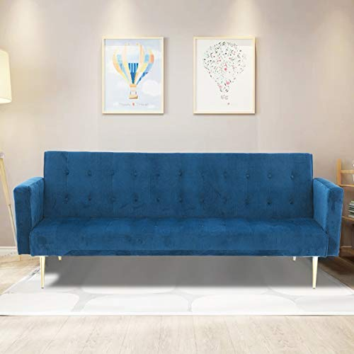 TrintionSofa Bed 3 Seater Click Clack SofabedVelvet Folding Sofas Couch Recliner Setteefor Living Room, Guest Room, Bedroom Classic Blue