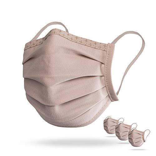 Isko Vital Supreme protección facial en beige - Mascarilla lavable de algodón orgánico con pinza nasal ajustable, para mujeres y hombres, 3 máscaras empaquetadas individualmente de la talla L
