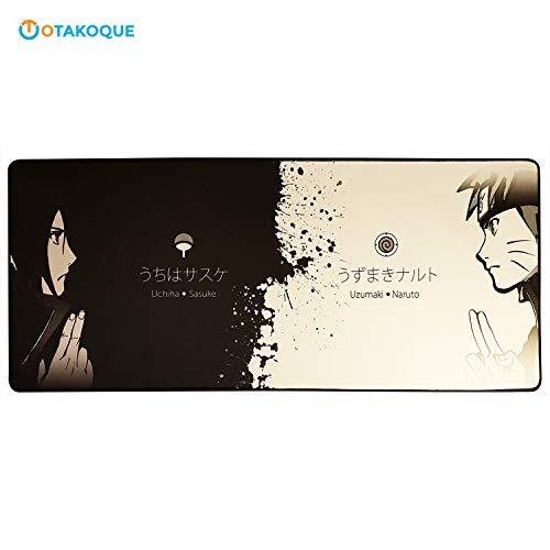 Tapis de Souris Manga pour gamer XXL - Tapis de Souris Gaming Grande Taille 900*400*3mm - Tapis en Caoutchouc naturel Antidérapant et confortable - Dragon Ball Z, Naruto, MHA....(90x40Naruto2)