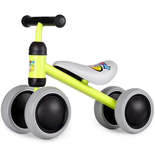 Hadwin Kinder Laufrad ab 1 Jahr, Baby Lauflernrad mit 4 Räder ohne Pedale, Kleinkind Balance Fahrrad Spielzeug, Geschenk für Ersten Geburtstag, Jungen Mädchen 10 – 24 Monaten, Gelb