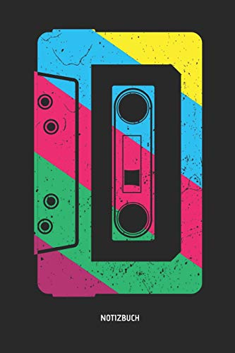 Notizbuch: Retro Neon Neunziger Kassette - Liniertes Kassetten Notizbuch. Tolle Geschenk Idee für Kassetten, Retro, Nostalgie, 80s und 90s Fans und alle die Musik lieben.