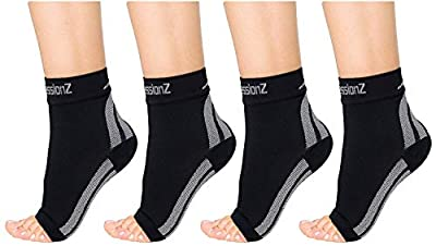 CompressionZ Plantar Fasciitis Socks - Pack of 2 Compression Foot Sleeves - Ankle Brace Arch Support - Pain Relief for Heel Spurs (Black 2P, Medium)