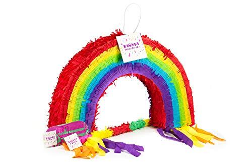 Trendario Regenbogen Pinata Set, Pinjatta + Stab + Augenmaske, Ideal zum Befüllen mit Süßigkeiten und Geschenken - Piñata Regenbogen für Kindergeburtstag Spiel, Geschenkidee, Party, Hochzeit