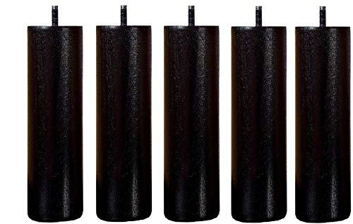 Wood Select Lot 5 Pieds lit 35 cm Diam 70 mm Noir wengé
