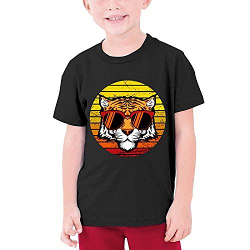 VJSDIUD Niños Niñas Sunset Gafas de Sol Tiger Poster Camiseta 100% algodón Cuello Redondo Camisetas para Adolescentes Top Negro