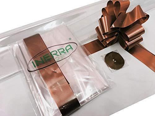 INERRA geschenk/geschenkmand verpakking set - 2 meter doorzichtige folie hoezen (gevouwen) 14 strikken 7