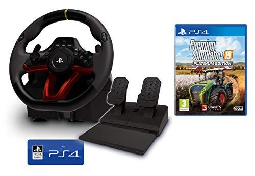 PS4 Lenkrad und Pedale [Neues Modell] Wireless Kabelloses Offiziell Sony PS4 lizensiert + Farming Simulator 19 / Landwirtschafts Simulator 19