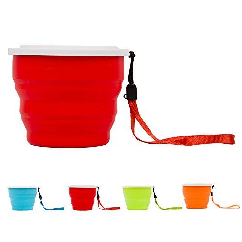 Benews-Tazza da campeggio portatile, pieghevole, da viaggio, per bambino, in Silicone BPA-Free Silicon Cup Pop-up da viaggio, Tazza da viaggio, per animali, da esterno