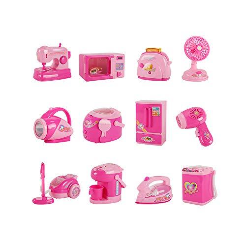 ZONJIE Juego de Cocina para niños, 12 Piezas de Juguete para electrodomésticos, Juego de Juguetes para el hogar para niños Mayores de 3 años, Rosa (Seguro y no tóxico)