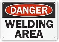 安全標識-危険-溶接エリア。 金属スズサインUV保護および耐候性、通知警告サイン