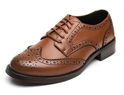 U-lite Women's Brown Perforated Lace-up Wingtip Leather Flat Oxfords Vintage Oxford Shoe BR 7