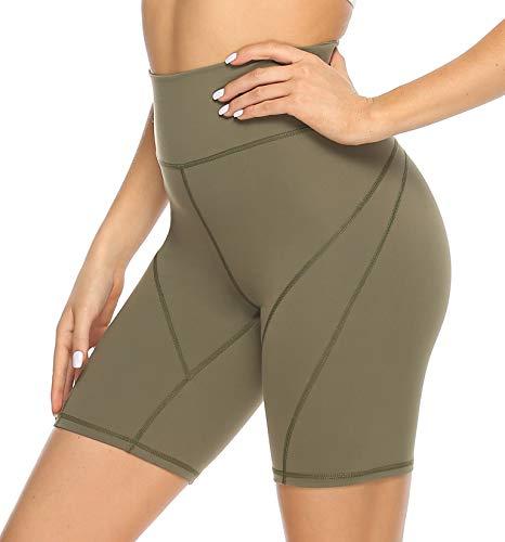 JOYSPELS Kurze Sporthose Radlerhose Yogahose Damen, High Waist Kurz Leggins Damen für Yoga Sport Gym Bike Sweat, Armeegrün, S