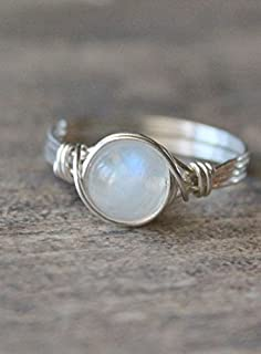Moonstone Wire Wrapped Ring, Wire Wrapped Ring, Sterling Silver Filled Ring, Custom Made To Your Size