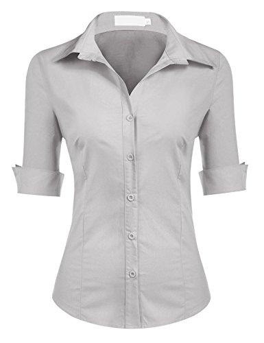 UNibelle Blusa para Mujer Elegante Camisa de Fiesta de Noche Blusa Estampada para Mujer Tops Camisa para Mujer Gris XL