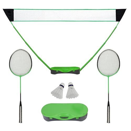 FBSPORT Tragbares Badmintonnetz Set, Mit Freistehender Basis, Mobiles Netz für Badminton, Tennis oder Volleyball, Kein Werkzeug Erforderlich