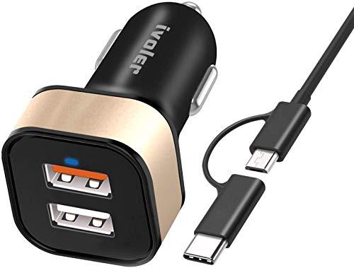 ivoler Quick Charge 3.0 30W 2 Porte Caricatore USB da Auto [QC 3.0 Porta + Qsmart Porta 5V/2.4A] con Cavo(1m) + Cavo 2 in 1 Type C e Micro USB Cavo Ricarica (1m)
