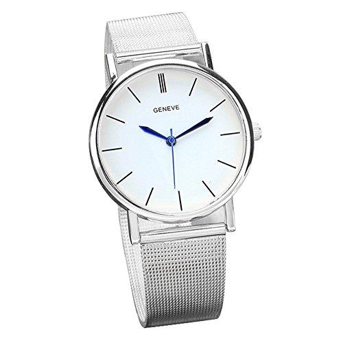 KanLin1986 relojes de pulsera de cuarzo para mujer,banda de acero inoxidable color plata