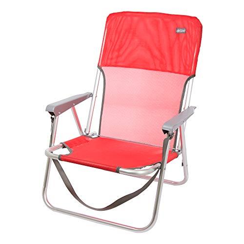Aktive 53966 - Sedia Pieghevole Fissa Alluminio Beach 40x56x70 cm - Rosso