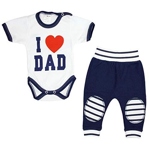 TupTam Unisex Baby Bekleidung mit Spruch 2er Set, Farbe: I Love Dad Dunkelblau, Größe: 80