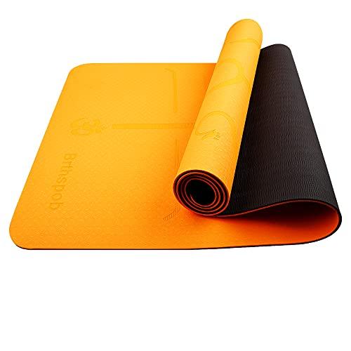 Brthspob Esterilla Yoga Antideslizante Alfombrilla de Yoga Esterilla Pilates Deporte- con Correa de Hombro,No tóxico, Fitness, Antideslizante de doble cara, 183cm x 61cm, naranja